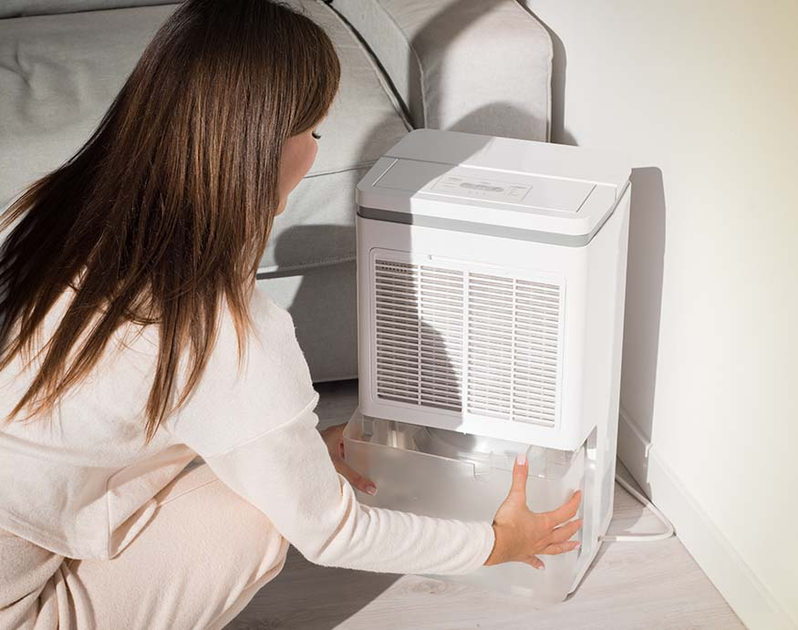 a woman removing the water tank of a portable dehumidifier