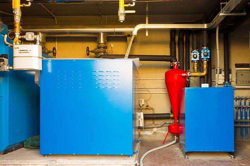 geothermal heat pump in boiler room