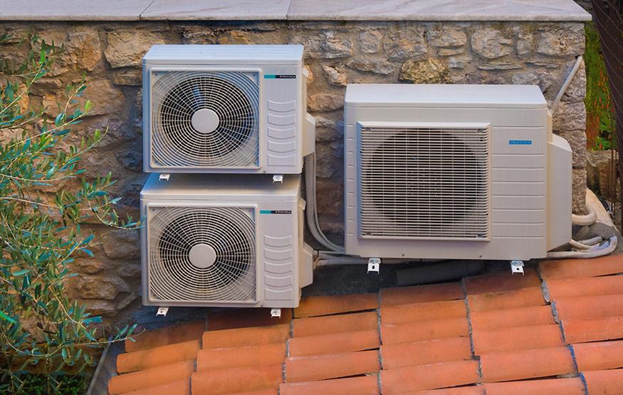 heat pumps on roof